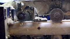 View on milling machine and sawdust fly away Stock Footage