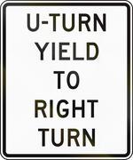 United States MUTCD regulatory road sign - U-Turn yield to right turn Stock Illustration