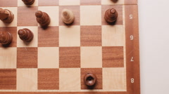 Overview on a chessboard. Close up. Slider shoot. Slow motion Stock Footage