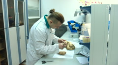 Man in a White Coat Testing Ginger in the Laboratory Food Control Stock Footage