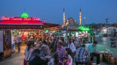Fast Food Restaurants And The Crowd Around In Istanbul Stock Footage