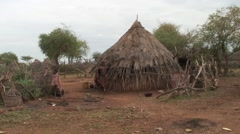 Hamer women and children outside fenced traditional hut in village Stock Footage