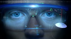 Futuristic monitor on face with code and information hologram. Eye hud animation Stock Footage
