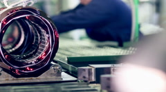 Engine production factory. Electric engine production process Stock Footage