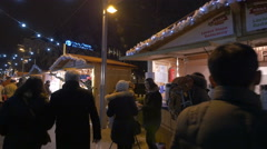 People walking, looking at street stalls on Deak Ferenc on Christmas, Budapest Stock Footage