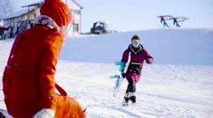 Young beautiful people hugging and posing ski resort - stock footage