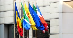 Flags Of Romania, Italy, United States And European Union Stock Footage