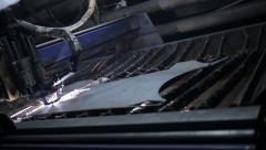Industrial machine, laser cutting through metal sheet Stock Footage