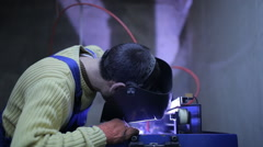 Industrial Worker Welding Steel Structure In Factory Stock Footage