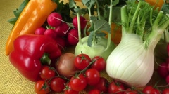 Assortment of fresh vegetables close up - stock footage