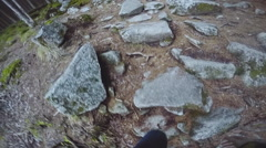The person goes on the road with stones in the wood Stock Footage
