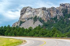 Highway and Mount Rushmore Stock Photos