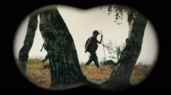 Children in forest - binoculars view 5 Stock Footage