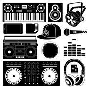 DJ sound equipment black icons - stock illustration