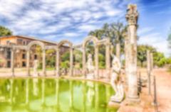 Defocused background with ruins of Villa Adriana, Tivoli, Italy Stock Photos