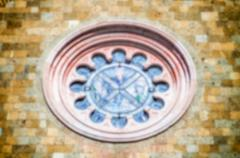 Defocused background of a rose window - stock photo