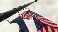 United States Flag at half mast blowing in the wind - stock footage