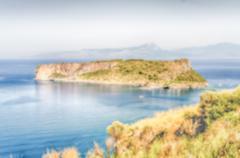 Defocused background of Dino Island on the Coast of the Cedars, Tyrrhenian Se Stock Photos