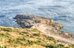 Defocused background of Santa Maria di Leuca waterfront, Italy Stock Photos