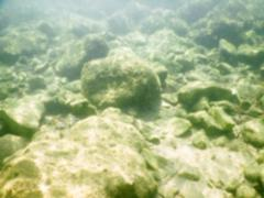 Defocused background of underwater rocks at the seaside Stock Photos