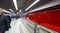 Passengers in The Corridors of The Train Station airport travelling stedicam Stock Footage