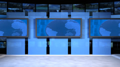 AnimSet 001 Wide Shot Flat Screens with Rotating Globe Stock Footage