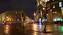 Time Lapse at night on the Nevskiy pr-t, Saint-Petersburg Stock Footage