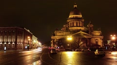 Timelapse at night on the St. Isaac's Cathedral, Saint-Petersburg - stock footage