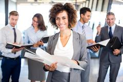 Business team with document and organizer Stock Photos