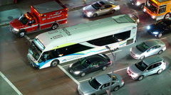 Time lapse of rush hour traffic at intersection in Downtown LA  Stock Footage
