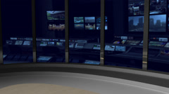 AnimSet 002 Left Shot News Set with Animated Screens in Background Stock Footage