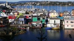 Kayaking, Fisherman's Wharf, Victoria Harbor, Vancouver Island, British Colum Stock Footage