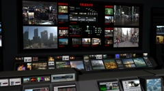 AnimSet 003 Close Shot B Control Room With Screens Stock Footage