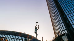 ZAGREB, CROATIA - December 29 2015: The statue of Drazen Petrovic in front of Stock Footage
