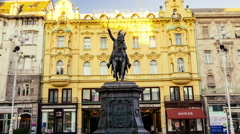 ZAGREB, CROATIA - December 30 2015: Ban Jelacic Square (Trg bana Jelacica) wi Stock Footage