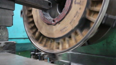 Machining process in the factory for repair induction motor cover plate Stock Footage
