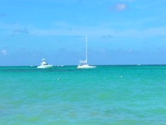 Boats at bavaro beach in Punta cana, dominican republic Stock Footage