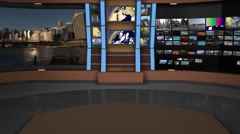 AnimSet 004 Close Shot Broadcast News Desk with Screens Stock Footage