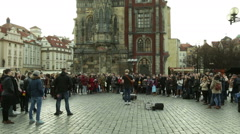 Popular streets busker and singer in Old Town Square Prague. Czech Republic 2016 Stock Footage