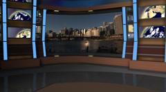 AnimSet 004 Left Shot Broadcast News Desk with Screens Stock Footage