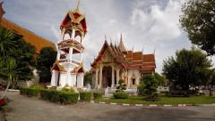 Gardens and Ornate Buildings of Wat Chalong in Phuket Thailand. Video 3840x21 Stock Footage
