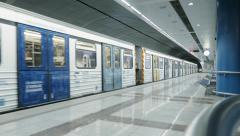 Establish shot Greek underground modern train/metro station Stock Footage