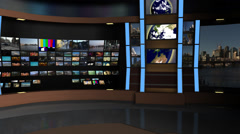 AnimSet 004 Right Shot Broadcast News Desk with Screens Stock Footage