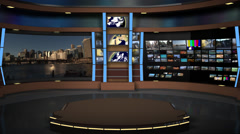 AnimSet 004 Wide Shot Broadcast News Desk with Screens Stock Footage