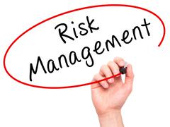 Man Hand writing Risk Management with marker on transparent wipe board Stock Photos