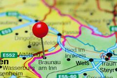 Braunau am Inn pinned on a map of Austria - stock photo