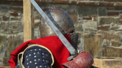 fight between two knights in armor - stock footage