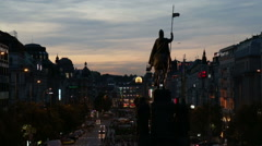 Wenceslas Square at Prague in the evening. Illustration Documentary - stock footage