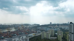 Singapore's Cityscape and Container Yard against the Horizon. Video UltraHD Stock Footage