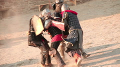 Reconstruction of knights in armor fight Stock Footage